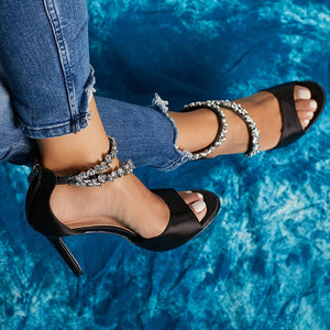 Summer High Heel Rhinestone Women Stiletto Sandals
