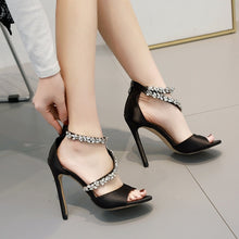 Load image into Gallery viewer, Summer High Heel Rhinestone Women Stiletto Sandals