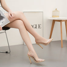 Load image into Gallery viewer, summer sandals pointed toe transparent high heel shoes