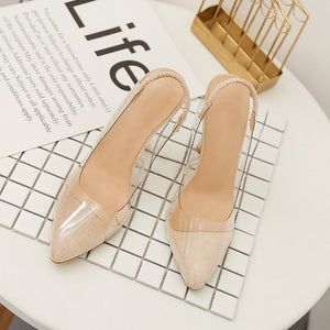 summer sandals pointed toe transparent high heel shoes