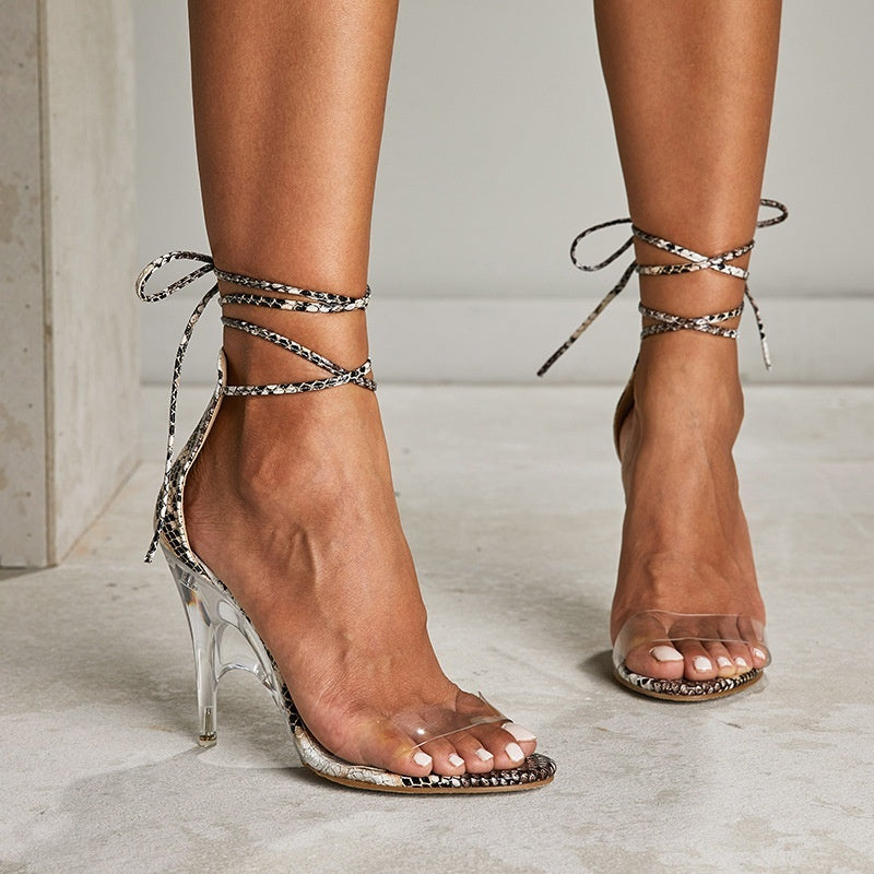Sexy Serpentine High Heel Roman Style Strappy Sandals
