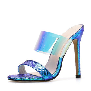 Transparent Heels PVC Sexy Women Sandals Slippers
