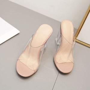 Crystal Chunky Heel Summer Women Slippers