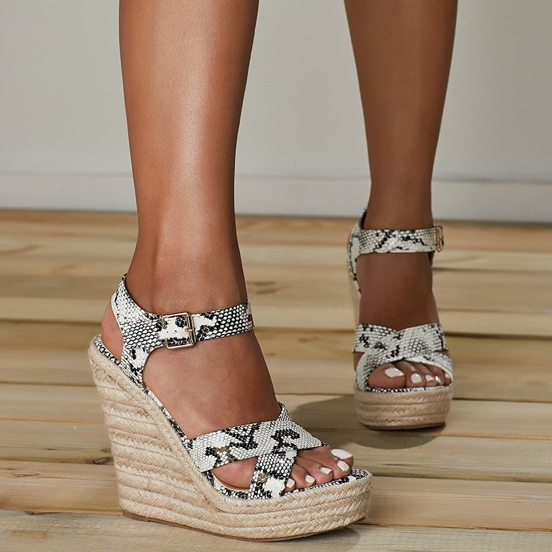 Buckle Snake Pattern Wedges Platform Sandals