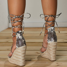 Load image into Gallery viewer, Snake Pattern Women Platform Wedges Sandals