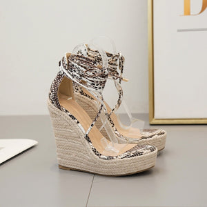 Snake Pattern Women Platform Wedges Sandals