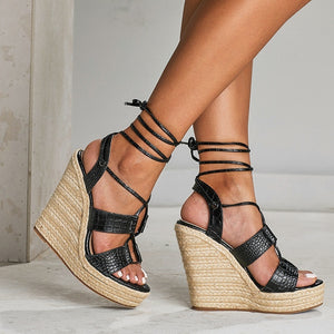 Cross Strap Woven Wedges Bohemian Roman Sandals Women