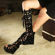 Load image into Gallery viewer, Hollow Out Lace-up Roman Rhinestone Gladiator Sandals