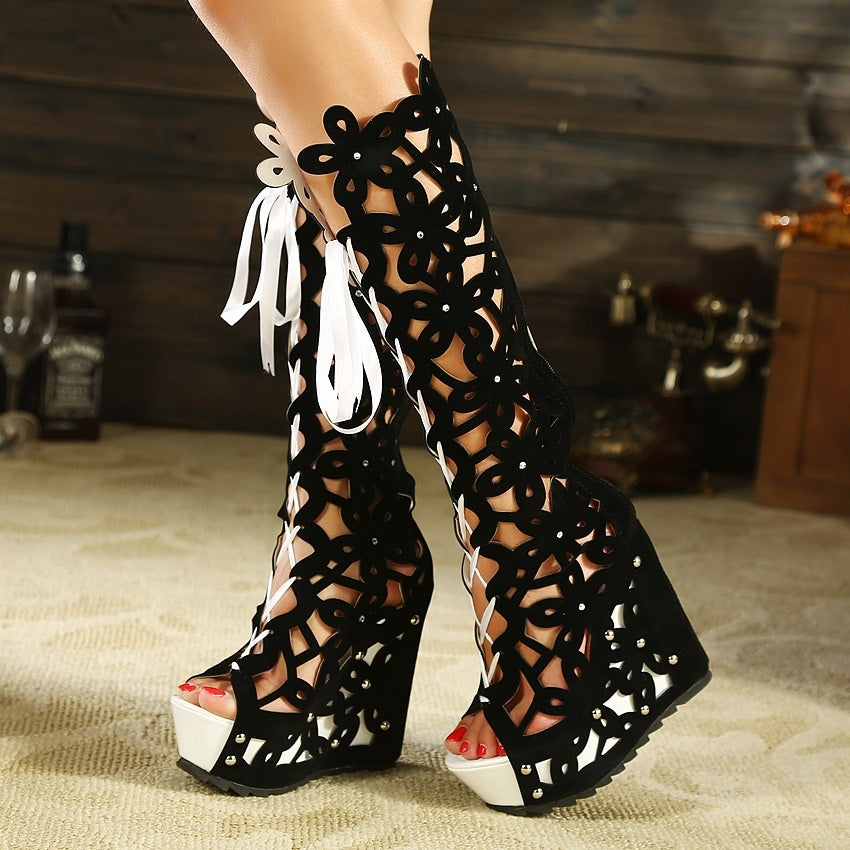 Hollow Out Lace-up Roman Rhinestone Gladiator Sandals