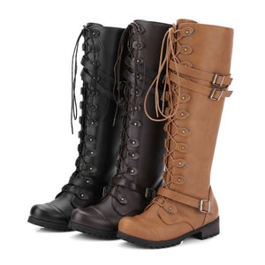 Woman Ladies Round Head Rivet Belt Buckle Tall Riding Boots