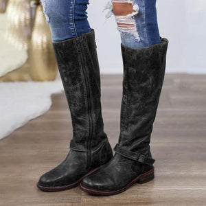 Woman Ladies Faux Leather Round Head Side Zipper Metal Decorative Tall Riding Boots