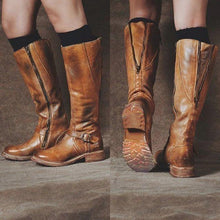 Load image into Gallery viewer, Woman Ladies Faux Leather Round Head Side Zipper Metal Decorative Tall Riding Boots