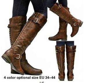 Woman Ladies Rivet Belt Buckle Tall Riding Boots