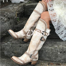 Load image into Gallery viewer, Woman Ladies Belt Buckle Medium Heel Tall Riding Boots