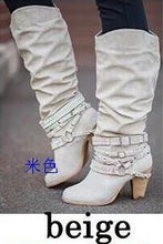 Load image into Gallery viewer, Woman Ladies Rhinestones Rivets High Heel Tall Boots