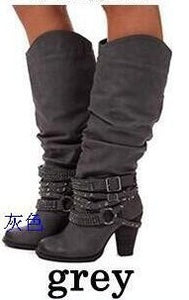Woman Ladies Rhinestones Rivets High Heel Tall Boots