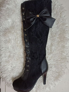 Woman Ladies Lace Bow Tie High Heeled Tall Boots