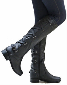 Woman Ladies Low Heel Party Tall Riding Boots