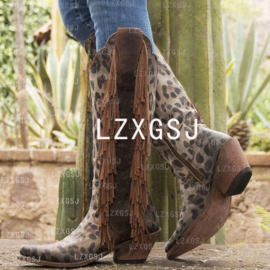 Woman Ladies Tassel Zipper Thick Heel Tall Riding Boots