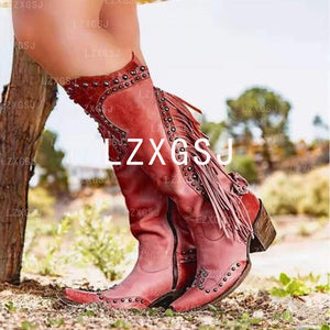 Woman Ladies Thick Heel Tassel Rivets Riding Boots