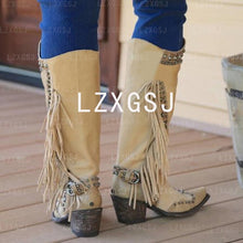 Load image into Gallery viewer, Woman Ladies Thick Heel Tassel Rivets Riding Boots