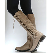 Load image into Gallery viewer, Woman Ladies Lace Up Tall Knight Boots