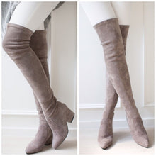 Load image into Gallery viewer, Woman Round Toe Suede Ladies Slim Tall Boots