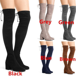 Woman Round Toe Suede Ladies Slim Tall Boots