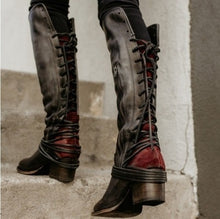 Load image into Gallery viewer, Woman Retro Thick Heel Tassel Strap Ladies High Heel Tall Boots