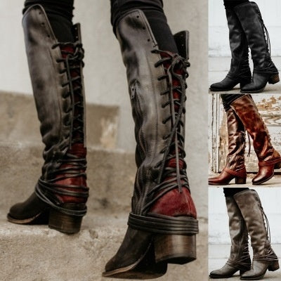 Woman Retro Thick Heel Tassel Strap Ladies High Heel Tall Boots