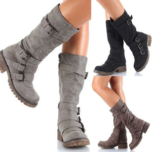 Woman Ladies Buckle Belt Tall Knight Boots
