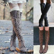 Load image into Gallery viewer, Woman Ladies Cross Straps Rivets Knight Boots