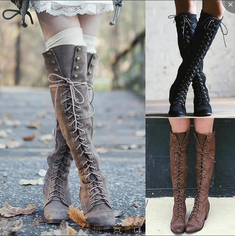 Woman Ladies Cross Straps Rivets Knight Boots