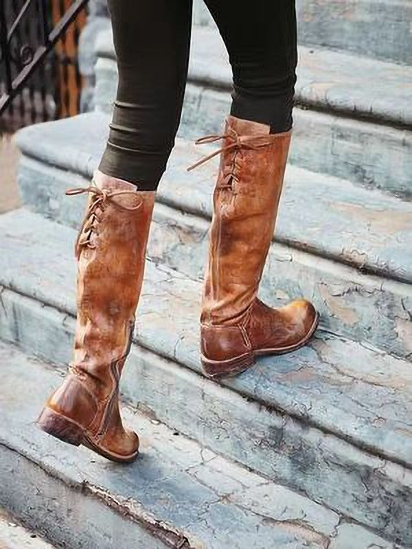 Woman Ladies Lace Up Thick Tall Boots