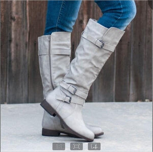 Woman Ladies Buckle Belt Knight Boots