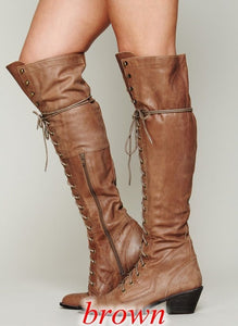 Woman Ladies Lace Up Knee High Boots