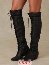 Load image into Gallery viewer, Woman Ladies Lace Up Knee High Boots