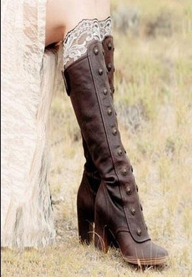 Woman Round Head Ladies Tall Boots with Rivet