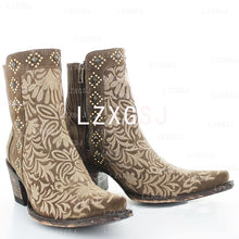 Load image into Gallery viewer, Woman Ladies Embroidered Side Zipper Thick Heel Short Boots