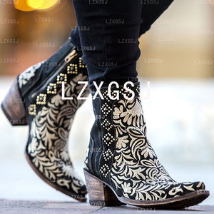 Woman Ladies Embroidered Side Zipper Thick Heel Short Boots