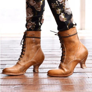 Woman Ladies Lace Up High Heels Short Boots