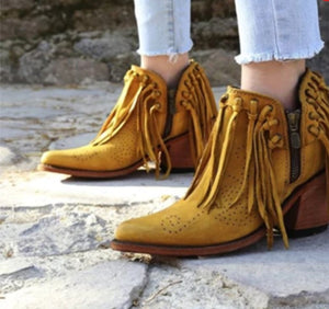 Woman Ladies Tassel Chunky Heels Short Boots