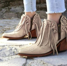 Load image into Gallery viewer, Woman Ladies Tassel Chunky Heels Short Boots