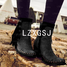Load image into Gallery viewer, Woman Ladies Tassel Rivets Side Zipper Thick Heel Short Boots