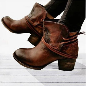Woman Women Round Head Square Heel Lace Up Short Boots