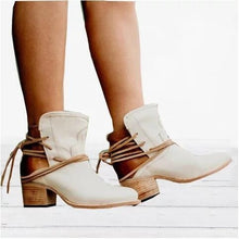 Load image into Gallery viewer, Woman Women Round Head Square Heel Lace Up Short Boots
