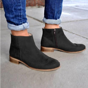Woman Ladies Thick Heels Autumn and Winter Low Heels Martin Boots