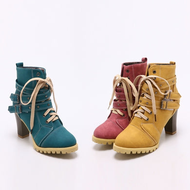 Woman Autumn and Winter Round Head Belt Buckle Rivets Thick Heel Ankle Boots