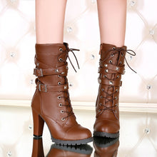 Load image into Gallery viewer, Woman Ladies Side Zipper Rivet Thick Heel Mid Calf Boots High Heel Lace Up Martin Boots
