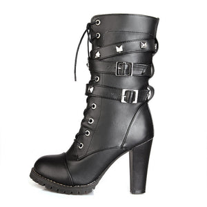 Woman Ladies Side Zipper Rivet Thick Heel Mid Calf Boots High Heel Lace Up Martin Boots